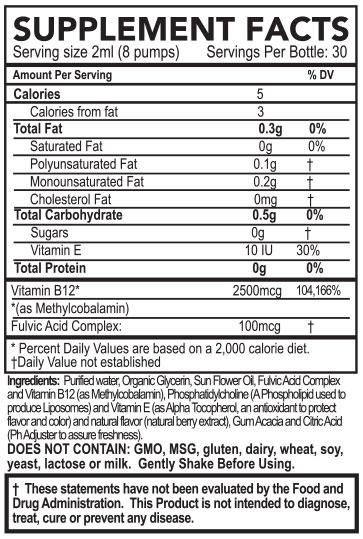 PuraThrive Vitamin B12 supplement facts