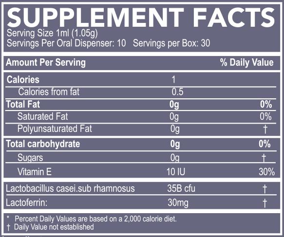 probiotic nutrition label